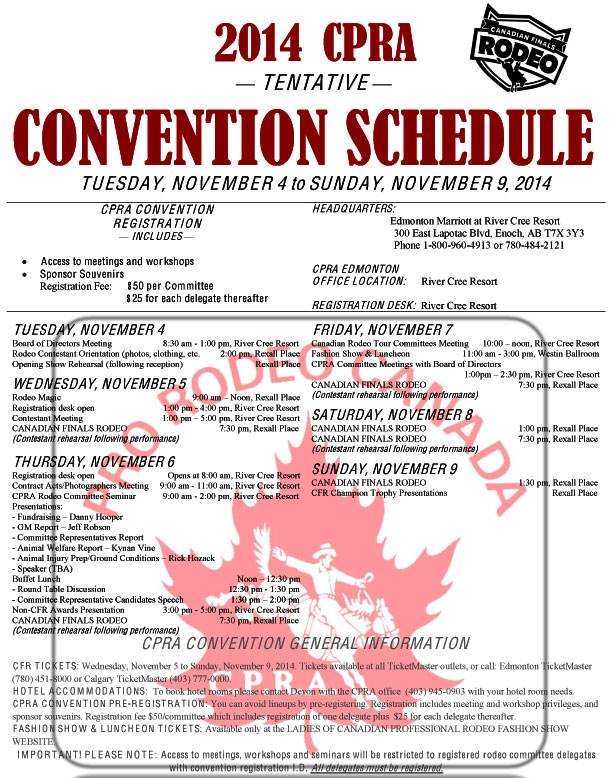 2014 Canadian Finals Rodeo Convention Schedule - tentative