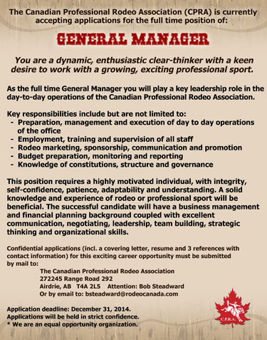 The CPRA is accepting applications for a full time General Manager. Click to enlarge ad.